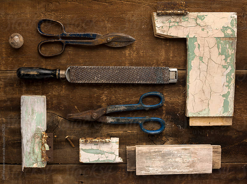 Arrangement of Vintage Tools and Parts of Old Door by Jeff Wasserman for Stocksy United