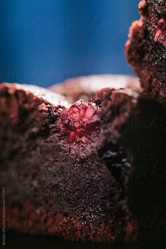 Homemade Brownie Cake with Raspberry by Borislav Zhuykov for Stocksy United