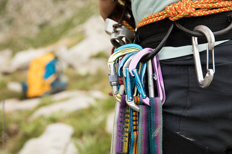 Rock Climbing Equipment on Harness by Odyssey Stock for Stocksy United