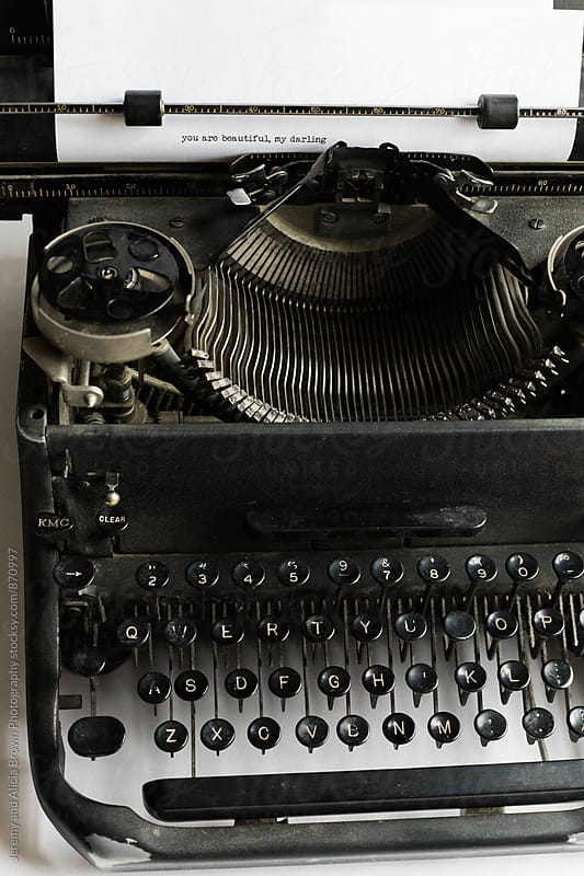 vintage typewriter with a love note by Jeremy and Alicia Brown Photography for Stocksy United