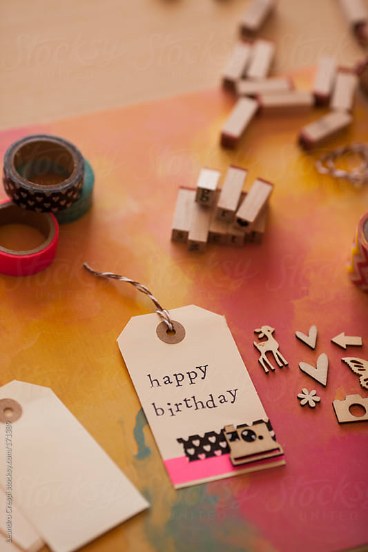 happy birthday scrapbook label by Leandro Crespi for Stocksy United