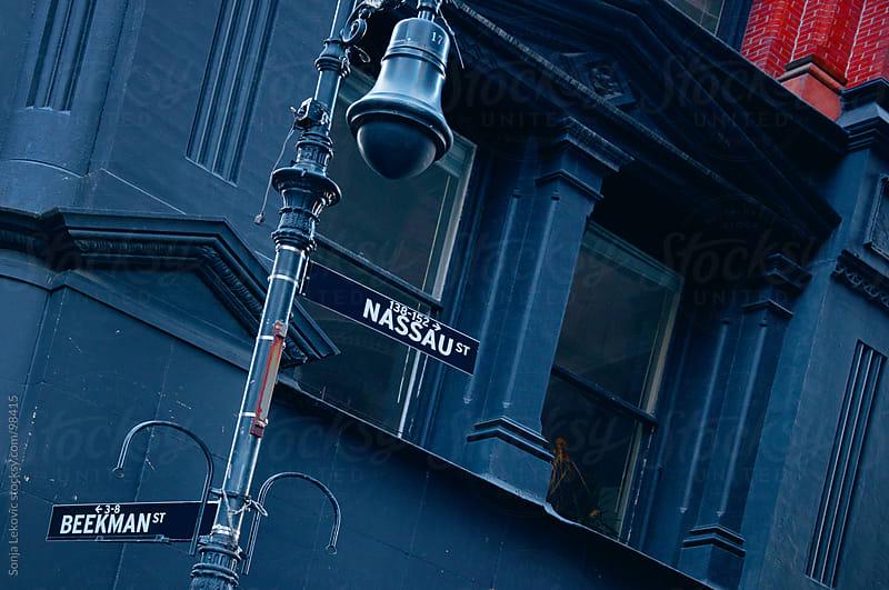 blue street corner in new york city by Sonja Lekovic for Stocksy United