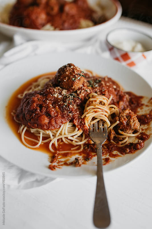spaghetti and meatballs by Melanie DeFazio for Stocksy United
