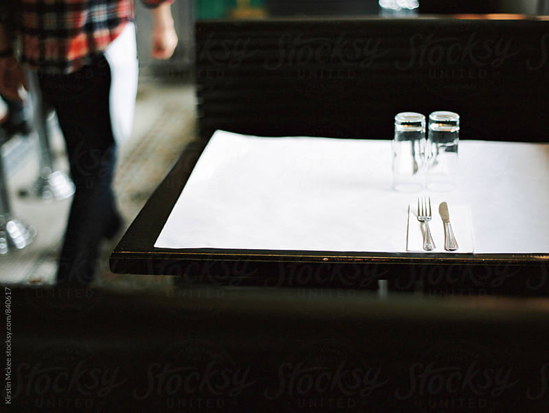 Cutlery on a table in a hipster diner in Brooklyn by Kirstin Mckee for Stocksy United