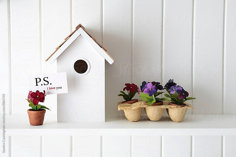 Flowers with card and wooden birdhouse on shelf by Sandra Cunningham for Stocksy United