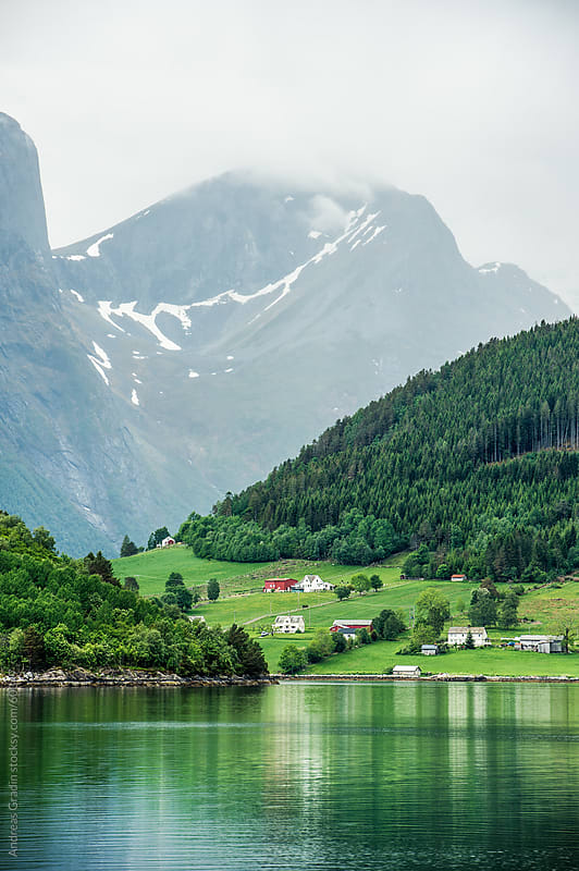 fjord landscape in Fjordland, Norway by Andreas Gradin for Stocksy United