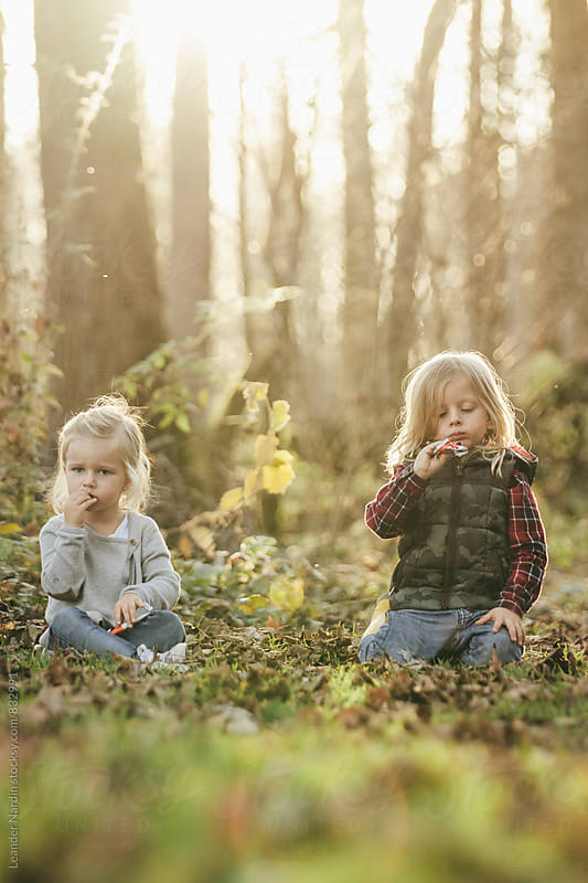 cute little girl and boy sitting in foliage covered forest eating sweets by Leander Nardin for Stocksy United