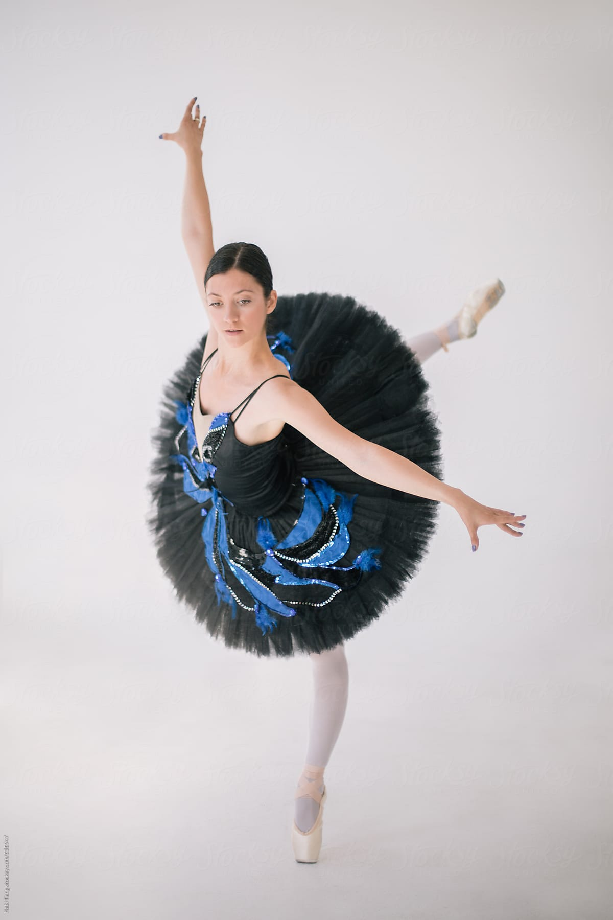 Beautiful Ballerina In Black Costume Dancing In The White Clean Space By Nabi Tang Stocksy United