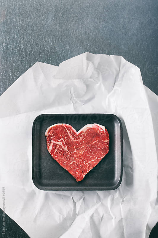 Valentine Heart Shaped Raw Steak With Wrappings by Sean Locke for Stocksy United