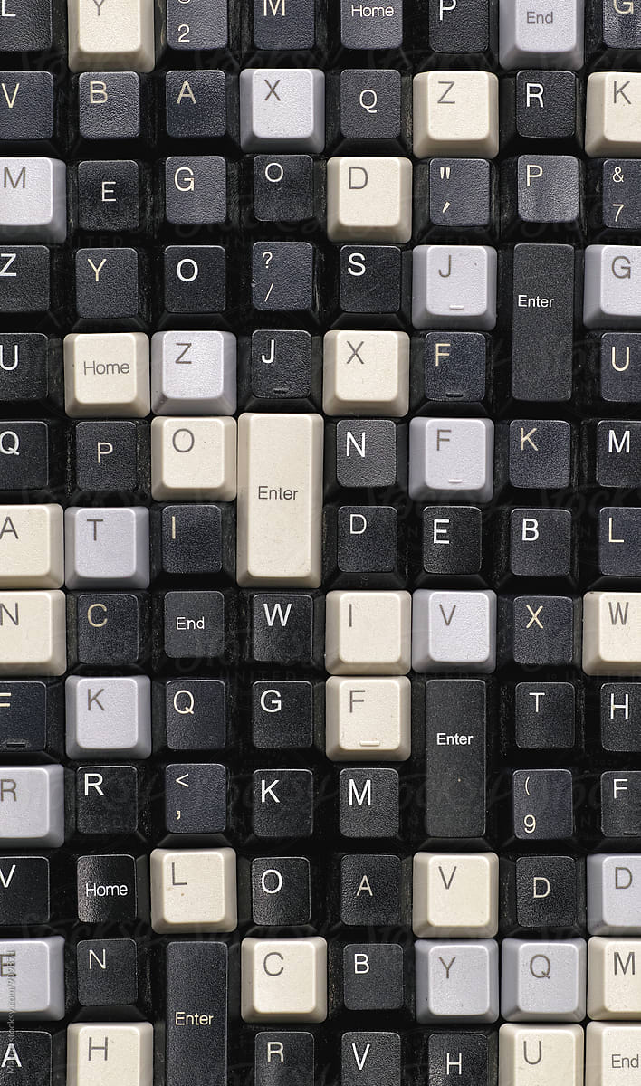 Stock Photo - Collection Of Old Computer Keyboard Keys
