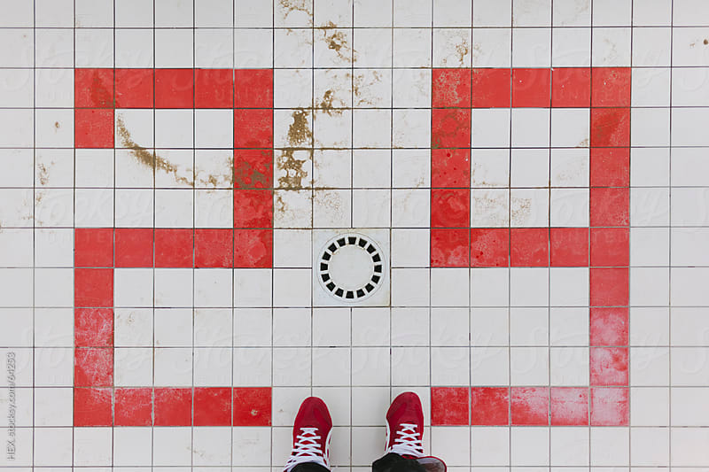 Red Shoes on Red and White Tiles by HEX. for Stocksy United