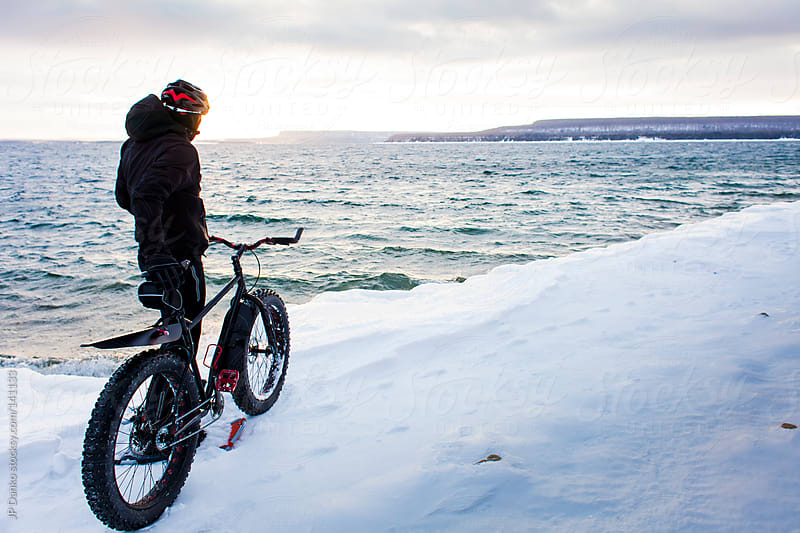Extreme Sport Winter Mountain Bike Fat Bike In Snow Sunrise by JP Danko for Stocksy United