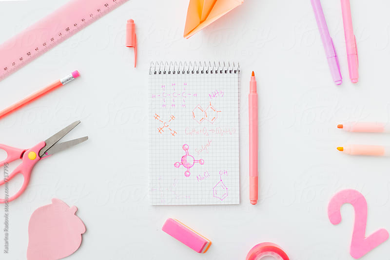 Pink Chemistry Notes and School Items by Katarina Radovic for Stocksy United