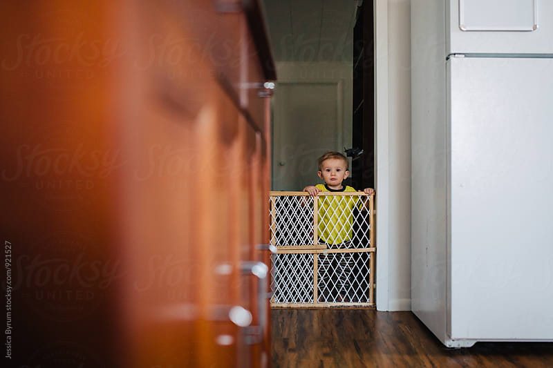 Toddler looking into kitchen over baby gate by Jessica Byrum for Stocksy United