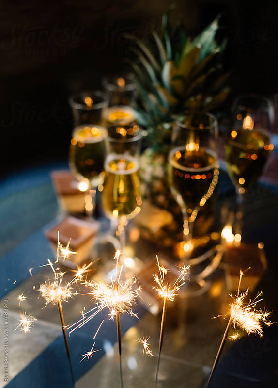 Sparkles champagne dessert and celebration for New Year's Eve by Beatrix Boros for Stocksy United