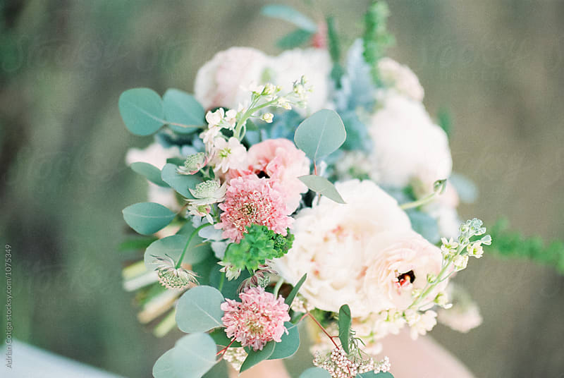 Bridal bouquet shoot on film by Adrian Cotiga for Stocksy United
