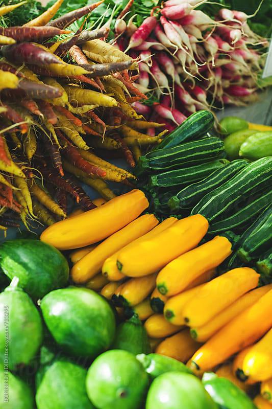 Fresh vegetables on an organic market.  by BONNINSTUDIO for Stocksy United