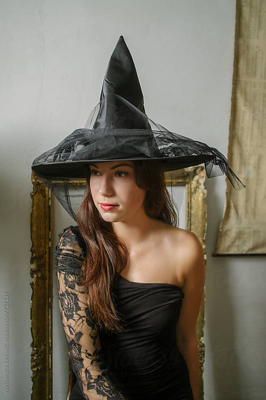 Beautiful Brunette Wearing Witch Costume for Halloween by Aleksandra Jankovic for Stocksy United