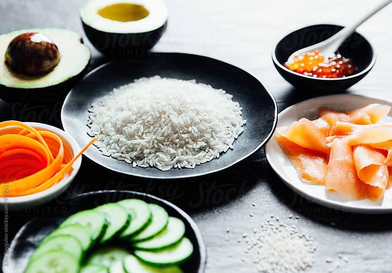 Sushi bowl ingredients by Ellie Baygulov for Stocksy United