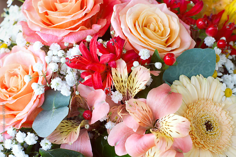 pastel bouquet of flowers by Sonja Lekovic for Stocksy United