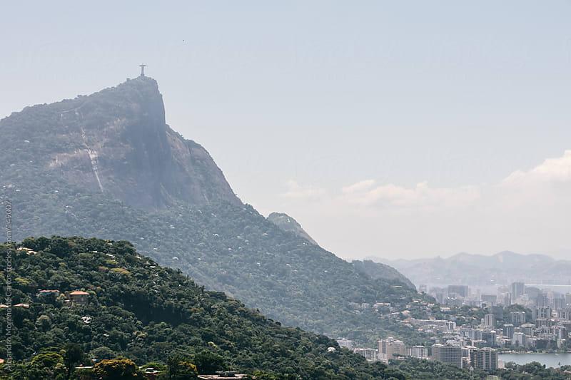 Cityscape of Rio de Janeiro with hills and Corcovado mountain by Alejandro Moreno de Carlos for Stocksy United