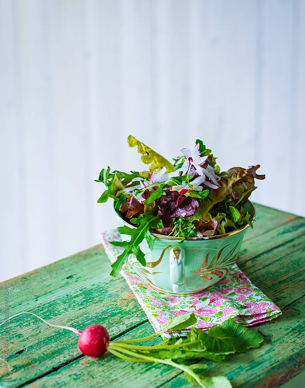 Mixed salad with radish by J.R. PHOTOGRAPHY for Stocksy United