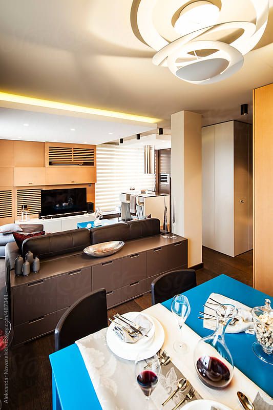 Contemporary dining room by Aleksandar Novoselski for Stocksy United