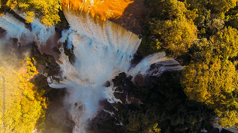 Amazing aerial view of Iguazu Falls by Leandro Crespi for Stocksy United