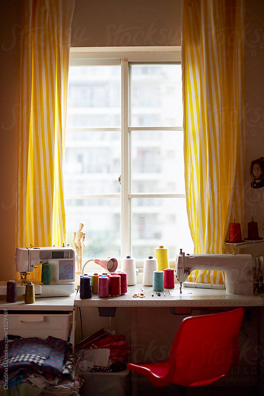 Small sewing workshop at home by ChaoShu Li for Stocksy United