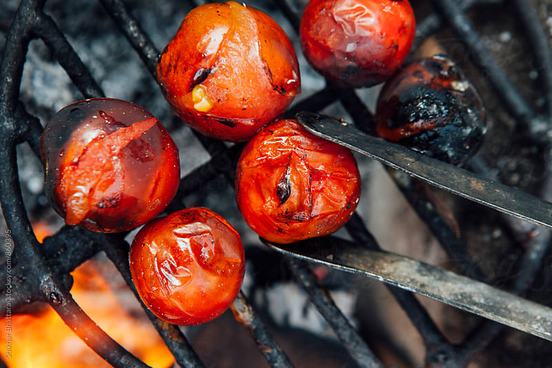 Small ripe tomatoes being cooked over a wooden fire on a grill. by Shikhar Bhattarai for Stocksy United