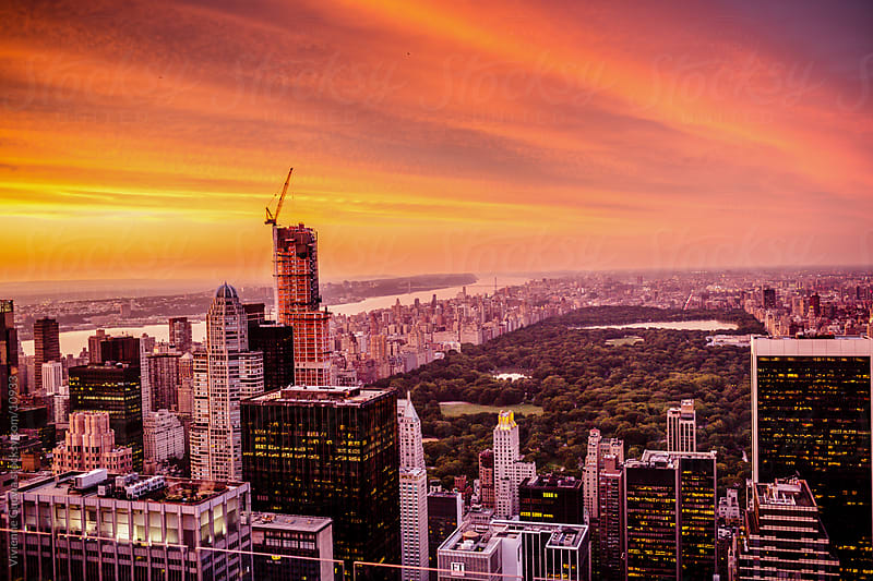 New York City Skyline Sunset Overlooking Central Park by Vivienne Gucwa for Stocksy United