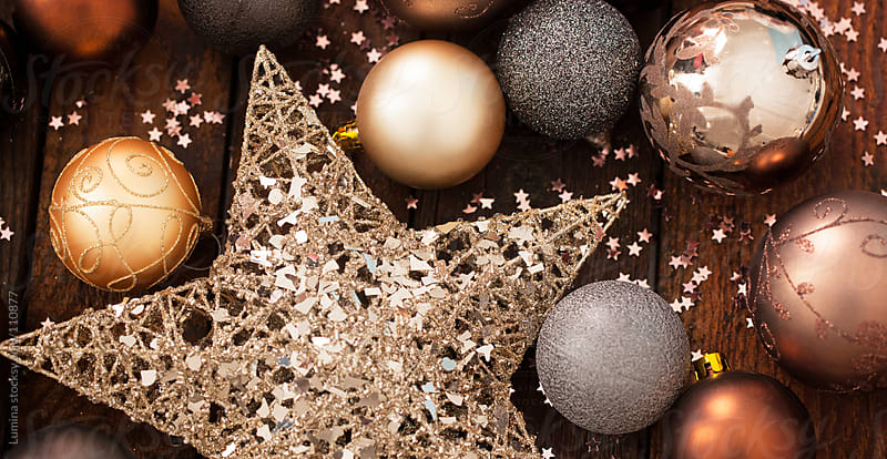 Golden and Brown Christmas Decoration by Lumina for Stocksy United