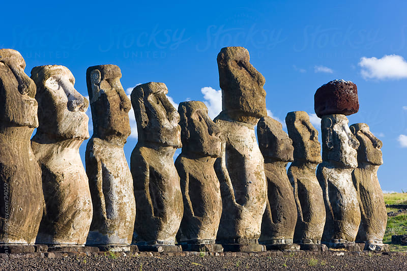 South America, Chile, Rapa Nui, Isla de Pascua (Easter Island), Ahu Tongariki, the largest ahu on the Island, Tongariki is a row of 15 giant stone Moai statues by Gavin Hellier for Stocksy United