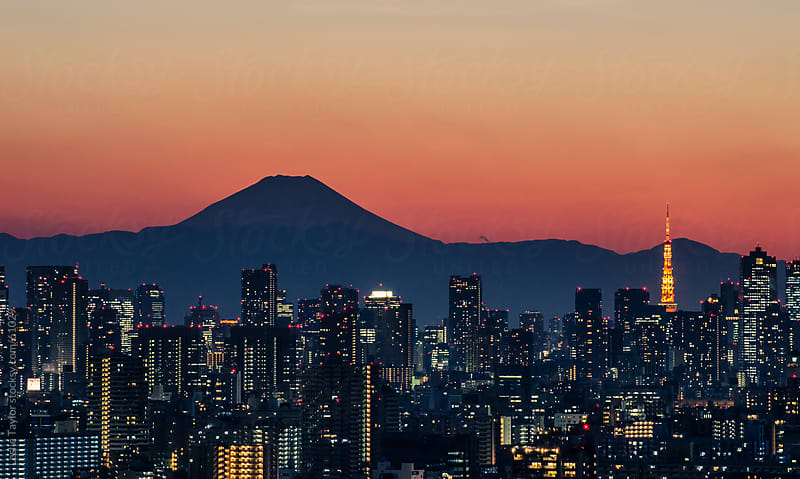 Sunset Over Tokyo Japan by Leslie Taylor for Stocksy United