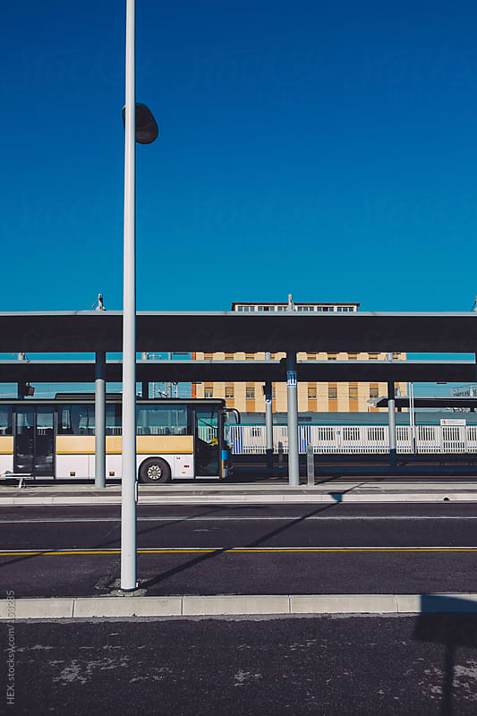 Empty Bus Station by HEX. for Stocksy United