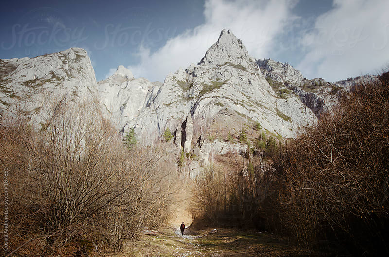 Fantasy mountain landscape with man walking on path by Cosma Andrei for Stocksy United