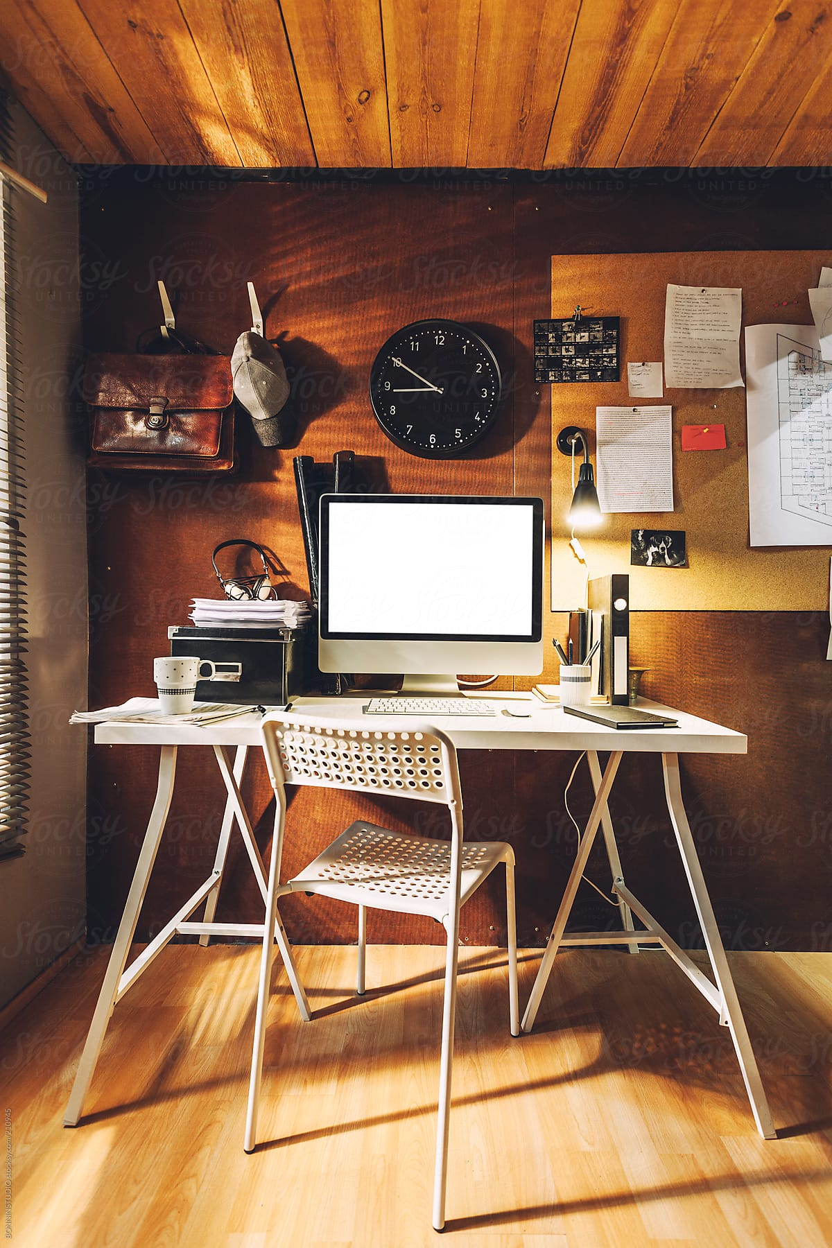 Cute Workspace With Computer On A Wooden Room The Brown Office By Bonninstudio Stocksy United