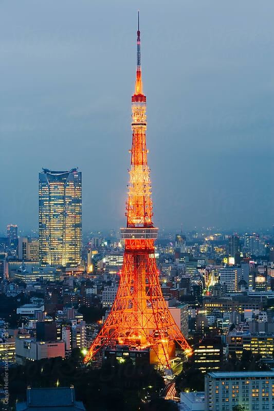 Asia, Japan, Honshu, Tokyo, Tokyo Tower (330m), illuminated at night by Gavin Hellier for Stocksy United