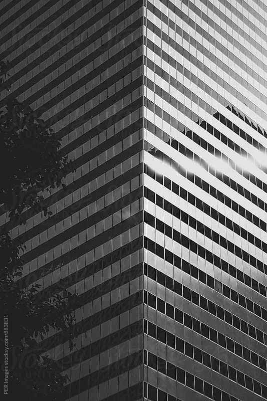 Black and white abstraction of a skyscraper by Per Swantesson for Stocksy United