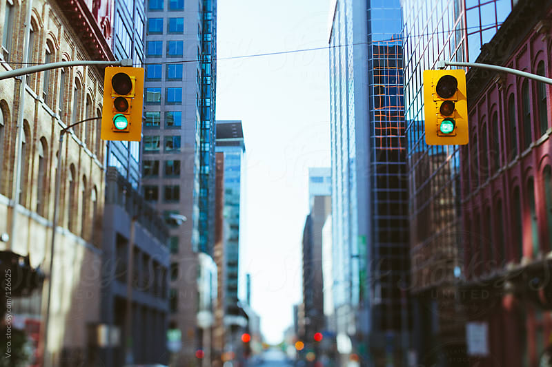 Traffic Lights Downtown by Good Vibrations Images for Stocksy United