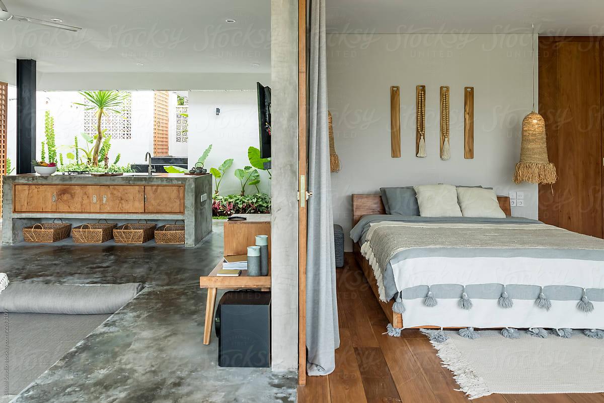 Modern Open Kitchen And Bedroom In Luxury Villa Bali Stocksy United