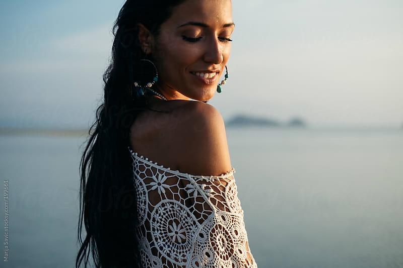 Beautiful Woman by the Sea by Marija Savic for Stocksy United