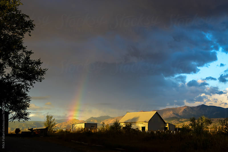 Country barn with rainbow at sunrise by Mick Follari for Stocksy United