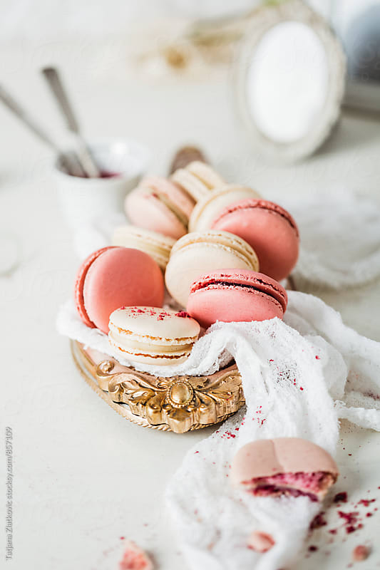 Raspberry and vanilla macaroons by Tatjana Ristanic for Stocksy United