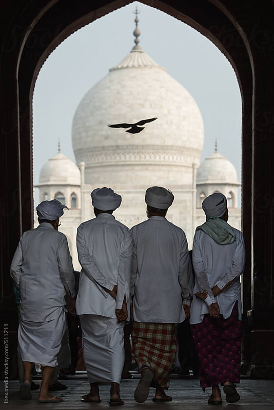 People visiting Taj Mahal  by RG&B Images for Stocksy United