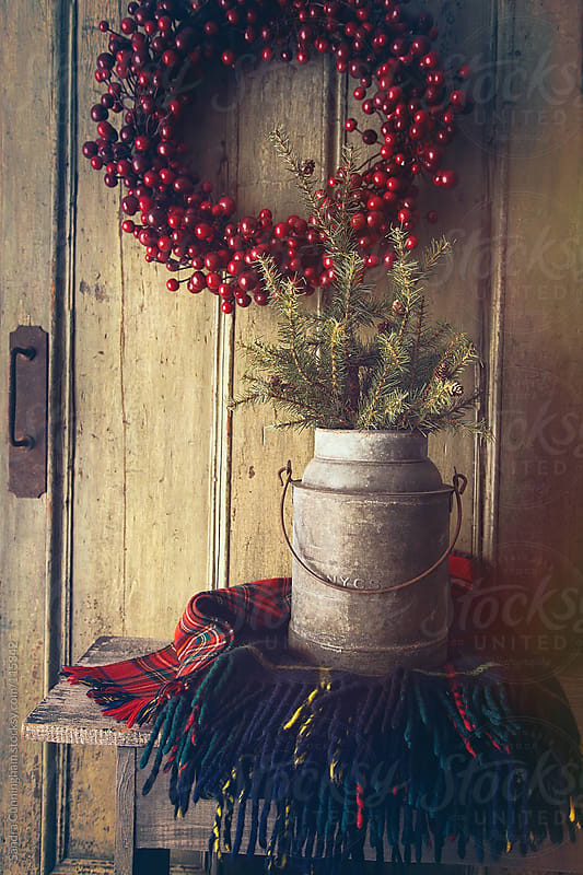 Old milk bucket with pine tree and plaid blanket on bench by Sandra Cunningham for Stocksy United