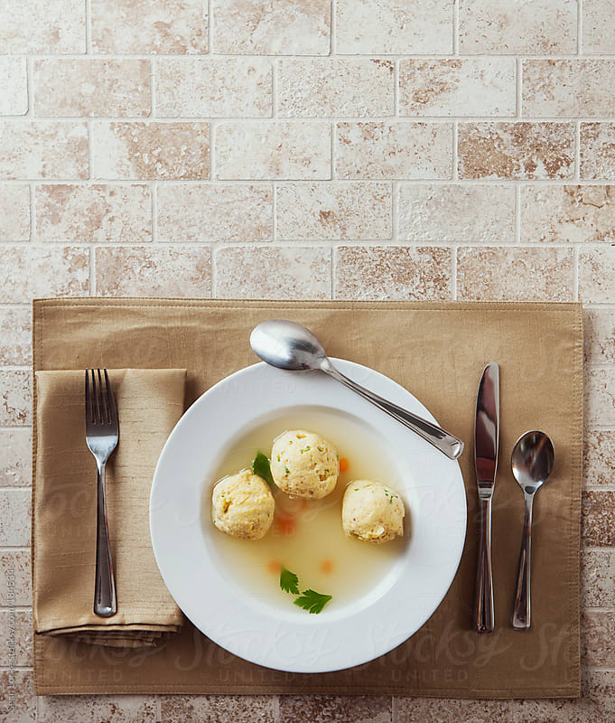 Passover: Overhead View Of Matzoh Ball Soup with Copyspace by Sean Locke for Stocksy United