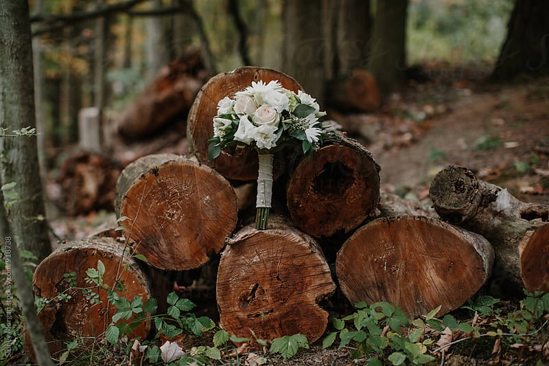 Wedding Bouquet on Stack of Logs by Sidney Morgan for Stocksy United