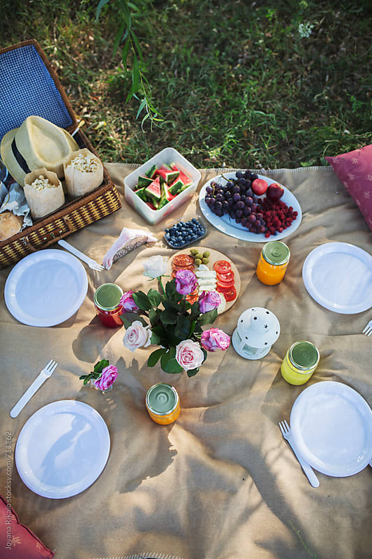 Food items at a picnic in nature by Jovana Rikalo for Stocksy United