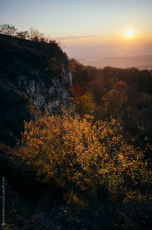 Autumn landscape at sunset by Cosma Andrei for Stocksy United